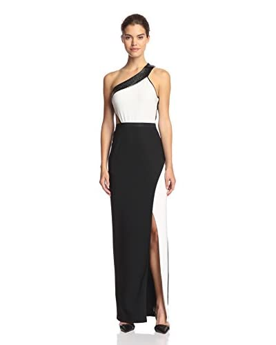 A.B.S. by Allen Schwartz Women's One-Shoulder Colorblock Gown