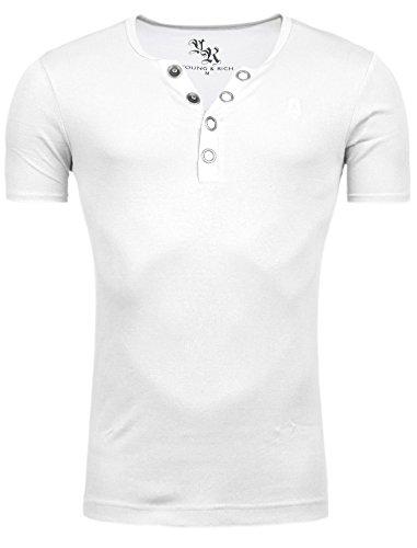 Star Designer Young & Rich T-Shirt Basic Uni Deep V-Neck Knopfleiste Buttons V-Ausschnitt D.G White M