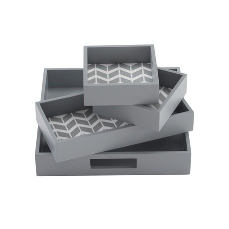 Intelligent Design Nadia 4 Piece Decorative Tray Set Grey 98x98x178
