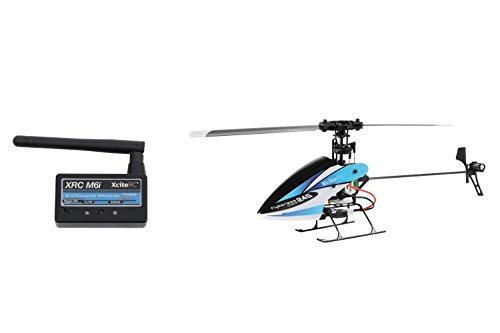 13003120 Ferngesteuerter RC Hubschrauber Flybarless 245 Trainer RTF 2.4 GHz 4 mit M6i 6 Kanal Sendermodul FHSS blau weiß