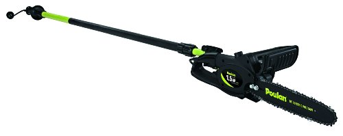 Poulan 952802360 8 Amp 1.5 Hp Electric Pole Pruner With 10-Inch Bar And Chain, Boom Telescopes Up To 8 Feet