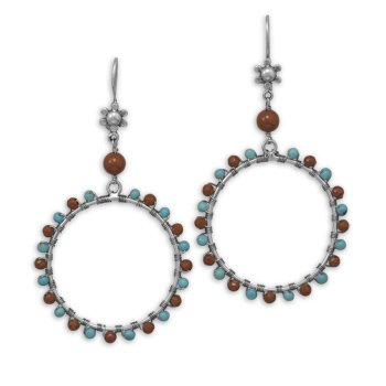 Jasper and Turquoise Wire Earrings