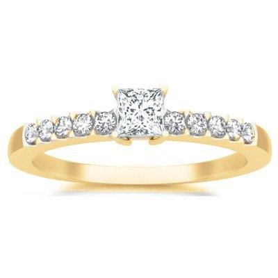 0.58 Carat Cheap Wedding Ring with Princess cut Diamond on 14K Yellow gold