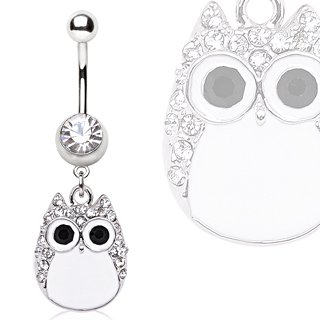 Clear And White Crystal Owl Dangle Belly Bar Navel Ring
