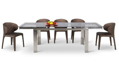 Enzo Expandable Modern Dining Table with Glass Top (Glass Extension Table compare prices)