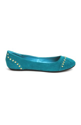 Bamboo Sami-97 Kid Suede Ballet Flat With Studded Spike Embellishments - Teal Suede