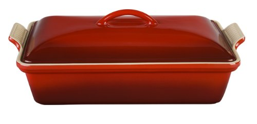 Le Creuset Heritage Stoneware 12-By-9-Inch Covered Rectangular Dish, Cherry front-481503