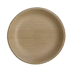 Perfect Disposable Party Plates- Areca leaf plates - Palm leaf plates - 100% Natural eco friendly plates - Bio degradable Round Plate (V011, Natural , 7 Inch) Pack of 20 Plates