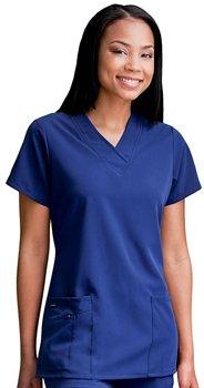Jockey Ladies Short Sleeve Zipper Pocket Medical Uniform Top Black Large