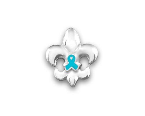 Small Fleur De Lis Teal Ribbon Pin (Retail)