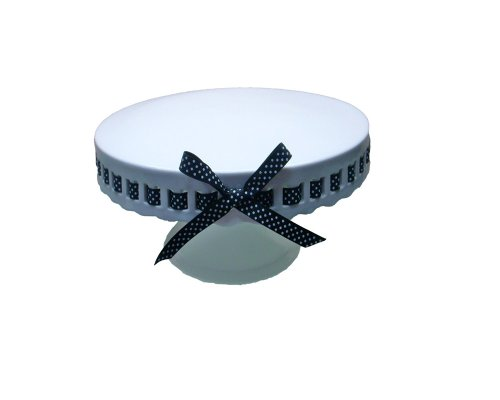Gracie China by Coastline Imports 8-Inch Round Porcelain Skirted Cake Stand, Black and White Dots Ribbon (Cake Stand With Ribbon compare prices)