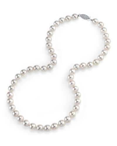 14K Gold 7.5-8.0Mm Japanese Akoya White Cultured Pearl Necklace - Aaa Quality, 16 Inch Choker Length