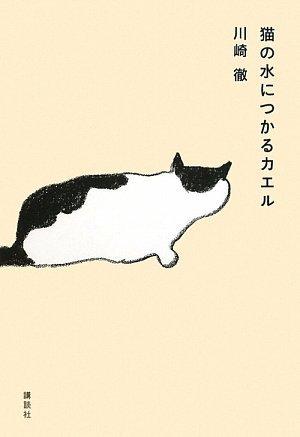 猫の水につかるカエル