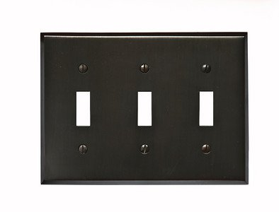 Classic Accents Oil Rubbed Bronze 3 Gang Toggle SwitchplateB0006FJLAY