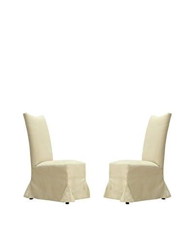 Armen Living Tuxedo Set of 2 Linen Dining Chairs, Beige