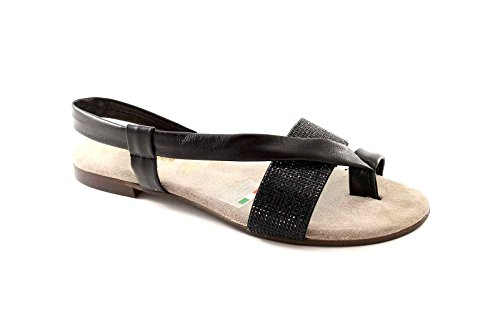 GEMMA 1163 nero sandali donna infradito pelle 40