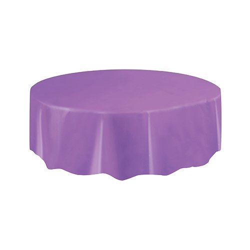 Round Purple Plastic Tablecloth, 84""
