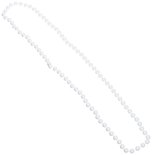 One Dozen 33-inch Long White Beaded Necklaces - Party Accessory (7mm Beads)