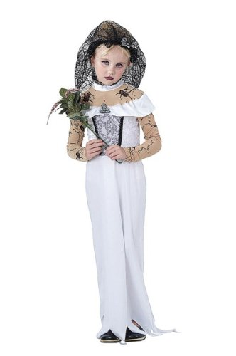 Bristol Novelty White/Black Zombie Bride Childrens Costume Girls Small 5-7 Years