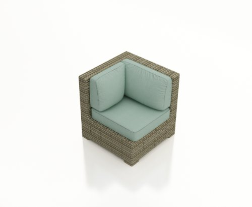 Forever Patio Hampton Rattan Outdoor Sectional Corner Chair With Turquoise Sunbrella Cushions (Sku Fp-Ham-Scc-Ht-Sp)