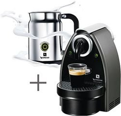 Nespresso C100-US-AERO Essenza Automatic Single Server Espresso Machine with Nespresso Aeroccino Milk Frother, Titanium