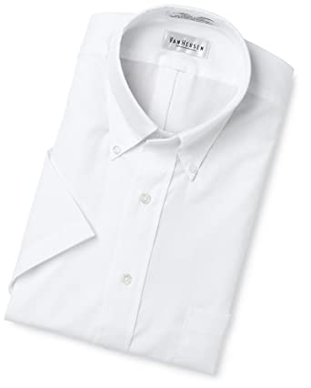 Van Heusen Men's Big Easy Care Pinpoint Solid Short Sleeve Shirt,White,17.5