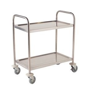 Small Stainless Steel Utility Cart 2 Shelf Small. 31 3/4(H)