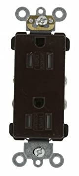 15 Amp, Decora Plus Duplex Receptacle, Tamper Resistant, Straight Blade, Commercial Grade, 125 Volt, Self Grounding, Brown/Black/Gray/Ivory/White, TDR15