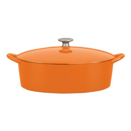 Mario Batali Enameled Cast Iron 6-Quart Oval Dutch Oven By Dansk, Persimmon