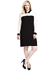 Plus Contrast Collar Tunic Dress