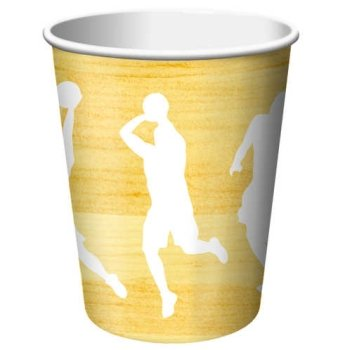 Team Sports Basketball 9oz Paper Cups 8 Per Pack