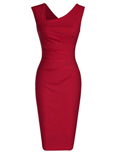 MUXXN Women's Retro 1940s Hollow Out Tunic Sheath Pure Bridesmaid Dress(L Burgundy)