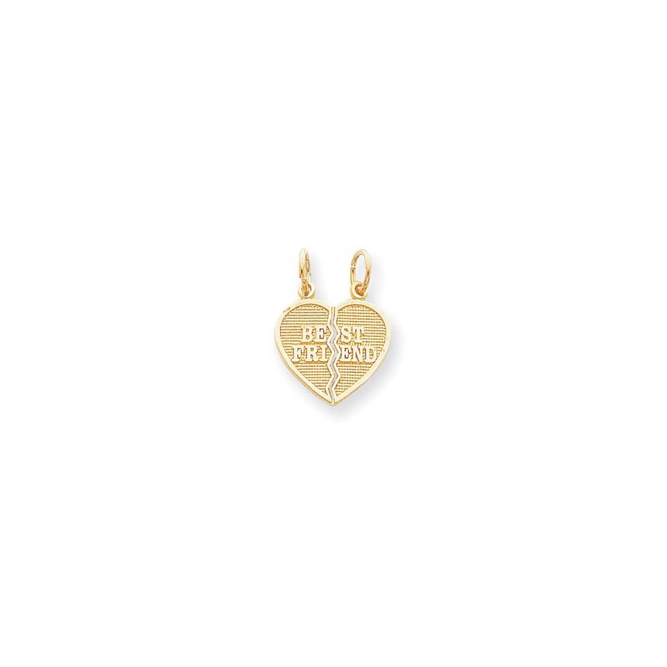 Genuine IceCarats Designer Jewelry Gift 10K 2 Piece Break Apart Best Friend Heart Charm