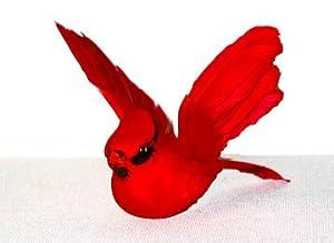 Artificial Flying Red Cardinal 12 Piece Fake Christmas Cardinals New