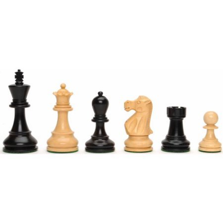 Jacques Chessmen, Weighted and Handpolished Black Stained Wood with 3.75