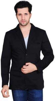 Denimize Solid Single Cotton Casual Men's Blazer