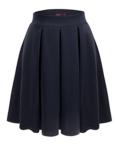Doublju Womens Casual Comfy Elastic Wide Band Pleated Midi Skirt NAVY 2XL
