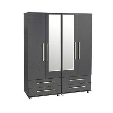 Ideal Furniture 4 Door + 4 Drawers + 2 Mirrors Wardrobe, Wood, White