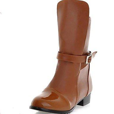 YU & YU Brevetto in pelle da donna con tacco Stivaletti/Stivali alla Caviglia (più colori), Brown, US7.5 / EU38 / UK5.5 / CN38