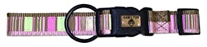 Hamilton Spumoni Collection 1-Inch Wide Adjustable Dog Collar, 18-Inch to 26-Inch, Horizontal Stripes