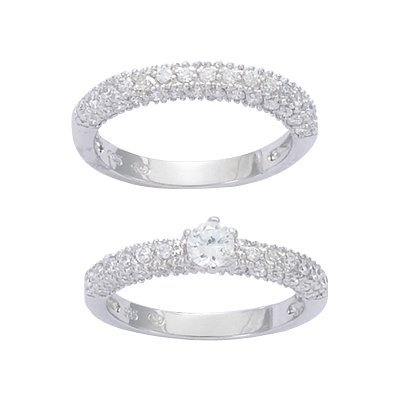 Sterling Silver Clear Cubic Zirconia Solitaire Luxury Bridal Ring Set - Size 9