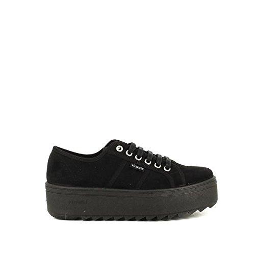 VICTORIA sneakers donna lacci Platform 4 TESSUTO NEGRO NERO 38
