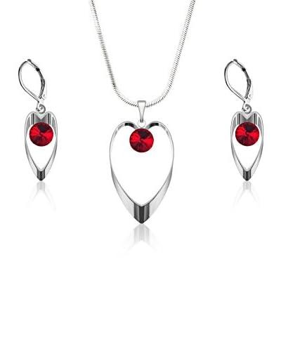 Bohemian Love Story Conjunto de cordón y pendientes Metal Flat Hearts Rivoli Rojo 42 cm
