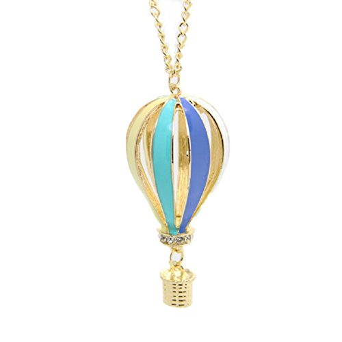 Coromose Women Colorful Jewelry Aureate Drip Hot Air Balloon Pendant Long Necklace