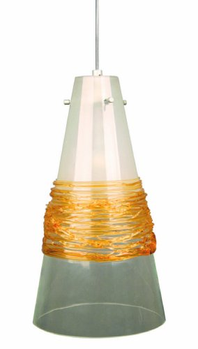 Prima Lighting 763-L0-V641-A-Sv-Sc Lamberg I Series Led Pendant With Clear/Frost Glass Shade And Amber Wraps