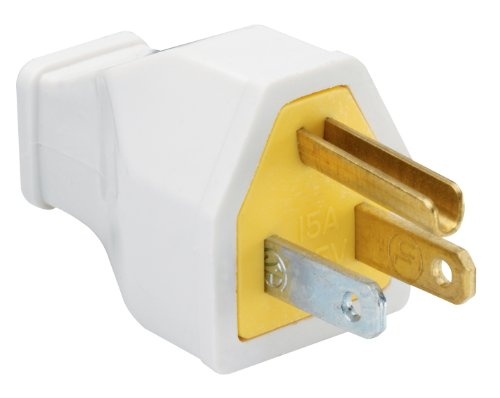 Pass & Seymour SA399WCC10 Residential Straight Blade Plug 15-Amp 125-volt Two Pole Three Wire, White