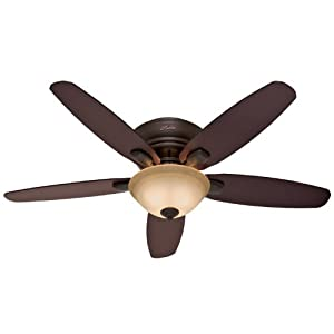 Hunter 28700 Fremont 52-Inch 5-Blade Single Light Ceiling Fan, Premier Bronze with Walnut/Dark Maple Blades and Amber Glass Bowl