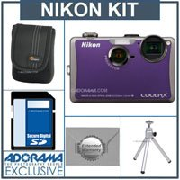 Nikon Coolpix S1100pj Digital Camera Kit - Violet - with 4GB SD Memory Card, Camera Case, Table Top Tripod, 2 Year Extended Service Coverage