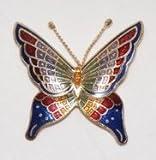 Handmade Cloisonne Enamel Butterfly Pin / Brooch