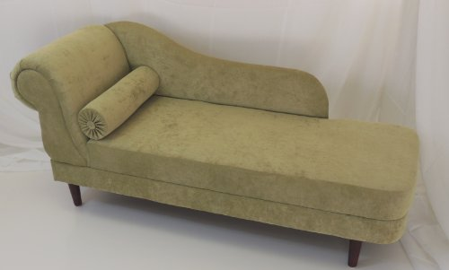 GREEN LUSTRE MINI CHAISE LONGUE WITH DARK WOODEN LEGS (R/H)